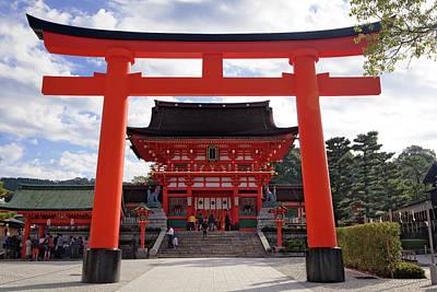 Japan, Kyoto Torii Gate In Front Art Print