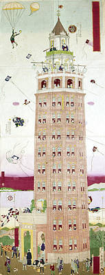 Parachute Painting - Japan Skyscraper, 1890 by Granger