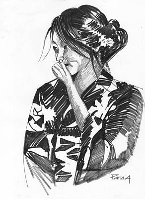Drawing - Japanes Girls by Parag Pendharkar