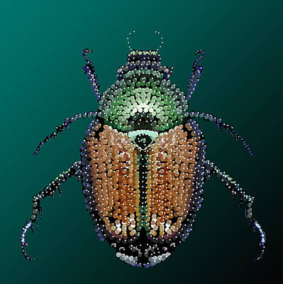 Digital Art - Japanese Beetle Bedazzled II by R  Allen Swezey