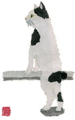 Painting - Japanese Bobtail Cat Hand-torn Newspaper Collage Art Pet Portrait by Keiko Suzuki
