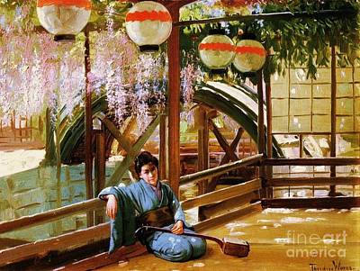 Painting - Japanese Bridge - Kameido Shrine by Pg Reproductions
