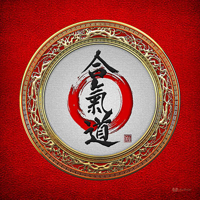 Digital Art - Japanese Calligraphy - Aikido On Red by Serge Averbukh