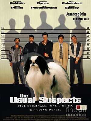 Painting - Japanese Chin Art Canvas Print - The Usual Suspects Movie Poster by Sandra Sij