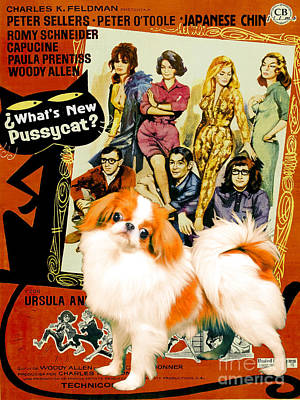 Painting - Japanese Chin Art Canvas Print - Whats New Pussycat Movie Poster by Sandra Sij
