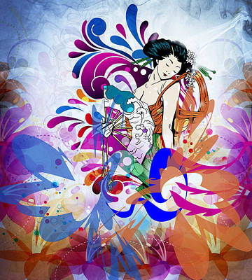 Graphic Design Digital Art - Japanese Colorful Lady by Georgiana Romanovna