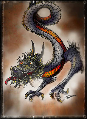 Drawing - Japanese Dragon by Tim Nichols