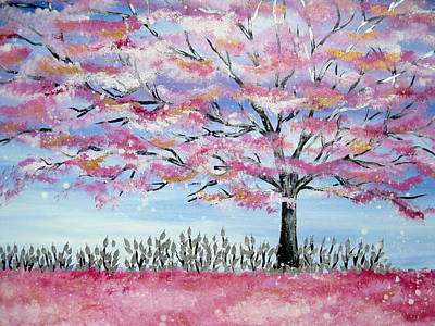 Cherry Blossoms Painting - Japanese Fantasy by Cathy Jacobs