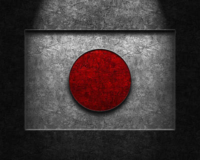 Print featuring the digital art Japanese Flag Stone Texture by Brian Carson