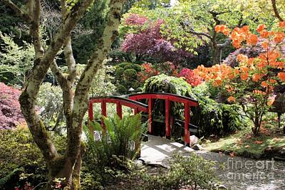 Garden Bridge Photograph - Japanese Garden Bridge With Rhododendrons by Carol Groenen