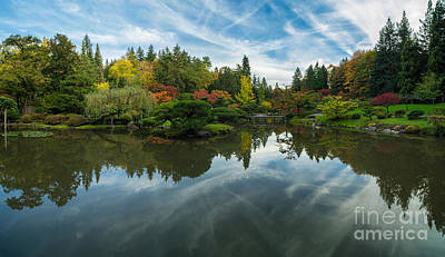 Koi Photograph - Japanese Garden Fall Colors Seattle Panorama by Mike Reid