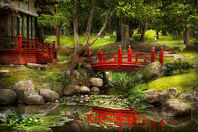 Garden Bridge Photograph - Japanese Garden - Meditation by Mike Savad