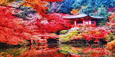 Temple Painting - Japanese Garden by Mo T