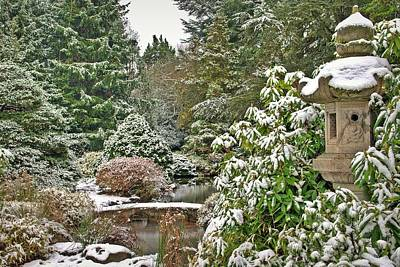 Photograph - Japanese Garden Snowfall by Jeff Cook