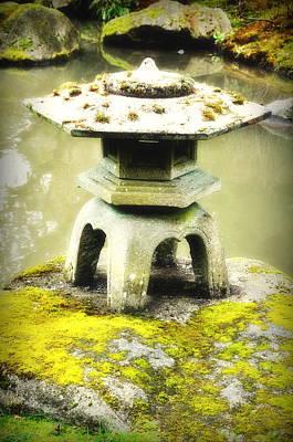 Japanese Garden Stone Lantern Original by Olesya Trigubova