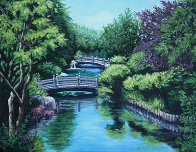 Japanese Garden Two Bridges Art Print by Penny Birch-Williams