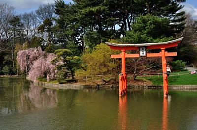 Japanese Garden With Orange Arch Art Print by Diane Lent
