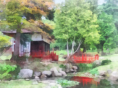 Photograph - Japanese Garden With Red Bridge by Susan Savad