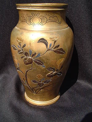 Shibuichi Sculpture - Japanese Gilt-metal Vase With Relief Decorations Featuring A Floral And Bird Design by Japanese goldsmith