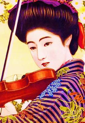 Advertisment Painting - Japanese Girl Playing Violin by Roberto Prusso