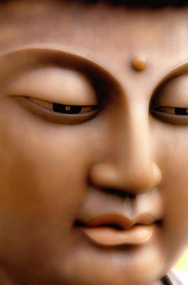 Statue Portrait Photograph - Japanese Great Buddha Face by Sheila Haddad