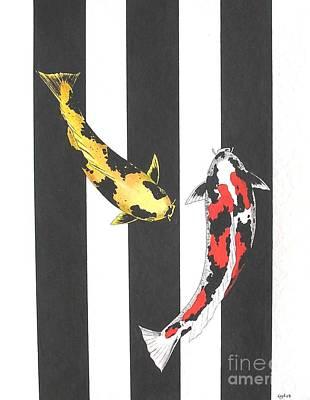 Japanese Koi Doitsu Showa And Showa Sumi Black Lines Art Print by Gordon Lavender