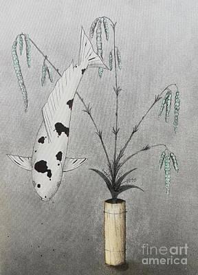 Apan Painting - Japanese Koi Utsuri Ikebana by Gordon Lavender