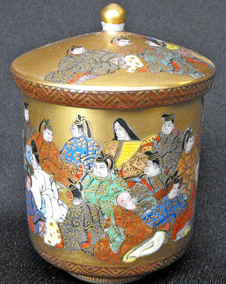 Ceremonial Tea Cup Ceramic Art - Japanese Kutani Ceremonial Chawan With Gilded Figural Decorations And Miniature Writing  by Japanese ceramic artist