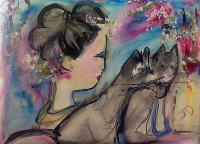 Japanese Lady And Felines Art Print