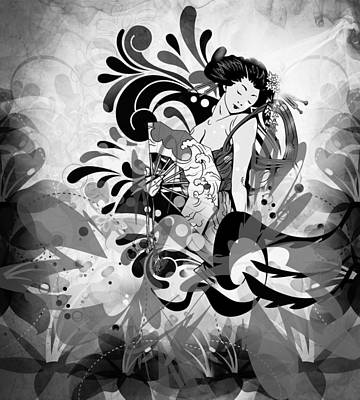 Japanese Lady In Black And White Art Print