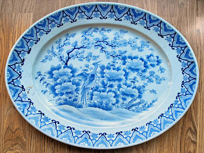 Antique Japanese Porcelain Platter Ceramic Art - Japanese Large Porcelain Platter Of Oval Shape by Anonymous ceramic artist