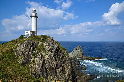 Japanese Lighthouse At Uganzaki Art Print by Kennerth and Birgitta Kullman
