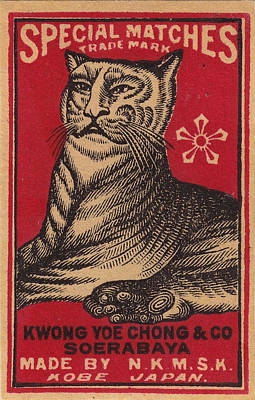 Photograph - Japanese Matchbox Label With Tiger by Nop Briex