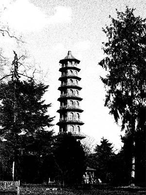 Digital Art - Japanese Pagoda At Kew Gardens by Helene U Taylor