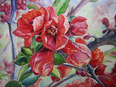 Painting - Japanese Quince In Blossom by Andrei Attila Mezei