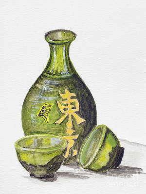 Sake Bottle Painting - Japanese Rice Wine - Sake by Irina Gromovaja