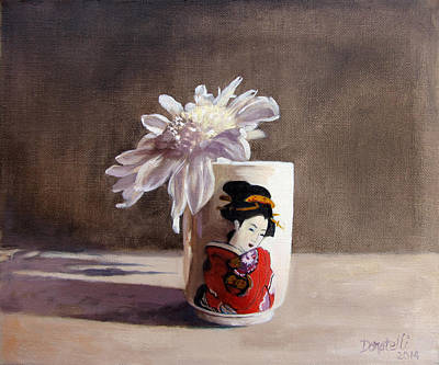 Painting - Japanese Saki Cup With Chrysanthemum by Kathryn Donatelli