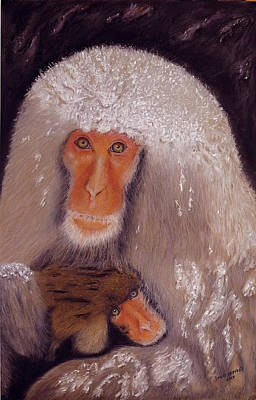 Painting - Japanese Snow Monkey by David Hawkes