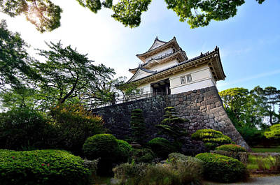 Japanese Style Castle With Nice Sky And Big Tree Art Print by Wittaya Sensod