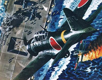 Spitfire Painting - Japanese Suicide Attack On American by Wilf Hardy