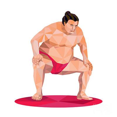 Wrestler Digital Art - Japanese Sumo Wrestler Squat Low Polygon by Aloysius Patrimonio