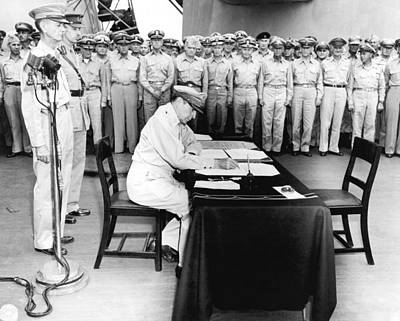 Military Uniform Photograph - Japanese Surrender Ceremony by Underwood Archives