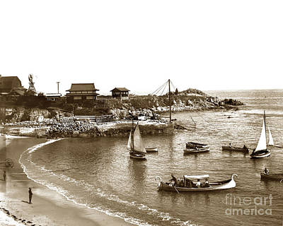 Photograph - Japanese Tea Garden Glass Bottom Boats At Lovers Point Pacific Grove California Circa 1907 by California Views Mr Pat Hathaway Archives