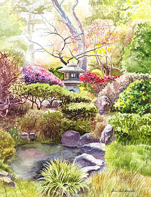 Watercolor Flower Painting - San Francisco Golden Gate Park Japanese Tea Garden  by Irina Sztukowski