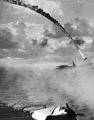Japanese Torpedo Plane Crashes Print by Underwood Archives