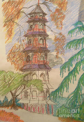 Pastel - Japanese Tower In Kew by Michelle Deyna-Hayward