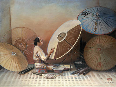 Ann Miller Wall Art - Painting - Japanese Umbrella Maker by Ann Miller
