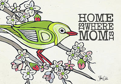 Family Love Painting - Japanese White Eye Mother's Day by Shanni Welsh