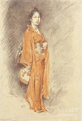 Drawing - Japanese Woman In Kimono by Pg Reproductions
