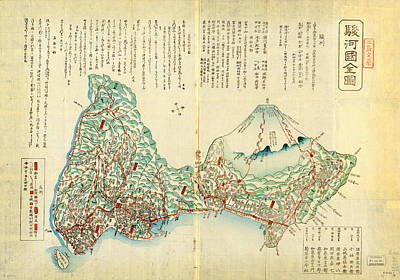 Wood Blocks Painting - Japanese Wood Block Map Showing Mt Fuji 1830s by MotionAge Designs
